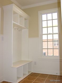 Very similar to what our mudroom bench will look like. Cubbies on top and below, beadboard, and hooks - just not clear on the trim elements. Vestibule, Single Garage Door, Mudroom Laundry Room, Reno, Cubbies, Built Ins, Home Projects, Shelving, Family Room