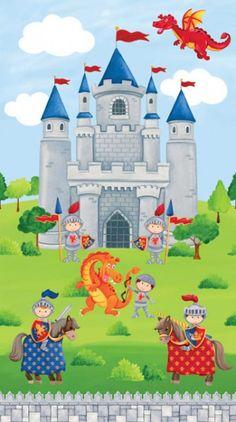"""Northcott Panel Little Knights Quest Ritter: Dieses Panel mit Rittern, Ritterburg und Schlachtrössern gehört zu der Northcott Kollektion """"Little Knights Quest"""". Mit diesen Patchworkstoffen werden Jungenträume wahr: kleine Ritter, Schlachtrosse, Burgen und gefährliche Drachen! Die Stoffe sind in bunten, kräftigen Farben gehalten und regen bestimmt die Fantasie Ihres kleinen Prinzen an!"""