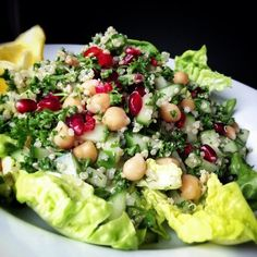 Quinoa, chickpea, parsley and pomegranate #vegan #lunch #salad by monica.shaw, via Flickr
