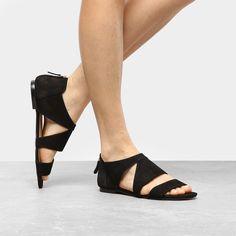 9ad634784b Rasteira Couro Shoestock Nobuck Recortes - Preto - Compre Agora