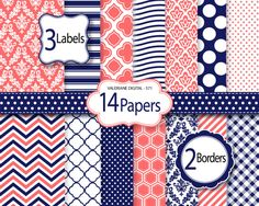 Coral and navy blue Digital Paper and clipart pack, damask digital paper, polka dots wave chevron patterns - Pack 571