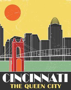 Cincinnati Skyline Poster by FlyGraphics on Etsy