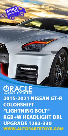 Give your ride an attitude adjustment and stand out from the crowd with the Nissan GT-R ColorSHIFT RGB+W Headlight DRL Upgrades for the 2015-2021 models from ORACLE Lighting! Sport Cars, Oracle Lighting, Luxury Cars, Supercars, Nissan GT-R Colorshift! #cars #autoparts #carlighting #luxurycars #nissan
