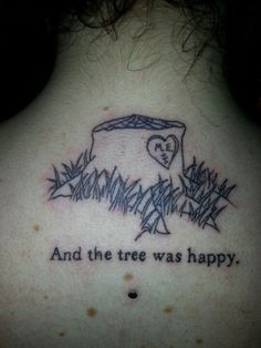 Shel Silverstein- The Giving Tree tattoo & microdermal