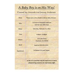 Build the library baby shower invitation from papersnaps baby http build a library baby shower invitation old fashioned library card you print 700 filmwisefo