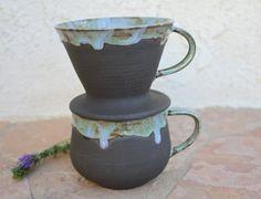 Pour Over Coffee Mug set handmade ceramic by ManuelaMarinoCeramic