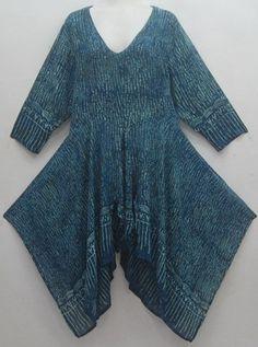 Lagenlook Handkerchief Hem Bali Batik Tunic Top