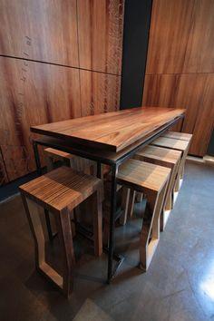 Australian Custom Plywood Furniture & Lighting | steel and solid blackwood table with kink bar stools