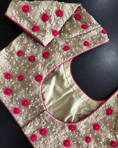 Latest designer ready made blouse design - The handmade craft Cutwork Blouse Designs, Pattu Saree Blouse Designs, Simple Blouse Designs, Stylish Blouse Design, Blouse Neck Designs, Blouse Simple, Neckline Designs, Blouse Styles, Sari Design