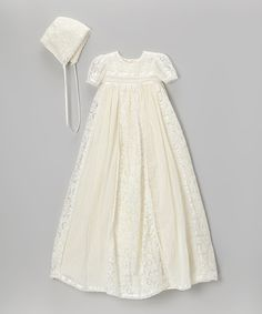 Another great find on #zulily! White Floral Lace Christening Dress & Bonnet - Infant by Little Things Mean a Lot #zulilyfinds