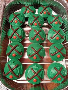 Filed Hockey Cupcakes 11/7/13: I made these for my daughter Jaime's End of the Season Field Hockey Party. A regular French Vanilla Cake mix was used for the cupcakes. Tootsie Rolls were used for the sticks, orange M&M's for the balls. The Baldwin High School Field Hockey Team Loved Them!