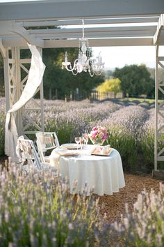 jrp dinner setting outdoor spaces Lavender Farm Photo Shoot from Jihan Cerda Photography Decoration Branches, Decoration Table, Outdoor Rooms, Outdoor Dining, Outdoor Gardens, Outdoor Decor, Romantic Dinner For Two, Romantic Dinners, Romantic Picnics