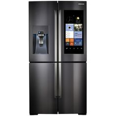 Samsung Family Hub 22.1-cu ft 4-Door Counter-Depth French Door Refrigerator with Single Ice Maker (Black Stainless Steel) ENERGY STAR