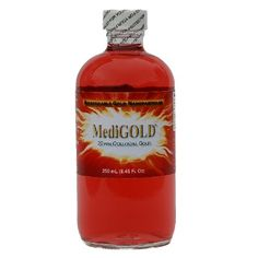 MediGOLD True Colloidal Gold ppm of pure Gold nanoparticles colloidally suspended in pure pharmaceutical grade water) - 250 mL glass bottle Copper Benefits, Colloidal Gold, Gold Water, Hot Sauce Bottles, Glass Bottles, Health And Beauty, Herbs, Pure Products, Protein
