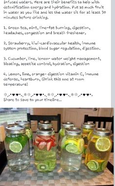 Great healthy water drink recipes to make with Alina and Larissa Yummy Drinks, Healthy Drinks, Healthy Snacks, Yummy Food, Healthy Recipes, Drink Recipes, Juice Drinks, Detox Drinks, Infused Water Recipes