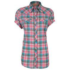 Wranlger Women's Cap Sleeve Plaid Western Shirt