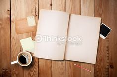 Foto de stock : Workspace with coffee cup, note paper and notebook