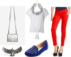 4th of july fashion outfit | Fourth of July outfit 3: Red jeans, white tie-up tee, statement ...