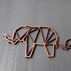 Elefant - 3D Origami - Holzmotiv