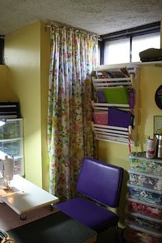 Curtain made from a vintage sheet- doing this if/when home gym has to move into our bedroom... won't have to look at it all the time and i can string vintage curtains across the room! love