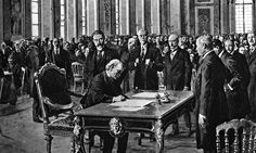 Treaty of Versailles- was one of the peace treaties at the end of World War I. It ended the state of war between Germany and the Allied Powers. It was signed on 28 June exactly five years after the assassination of Archduke Franz Ferdinand. Treaty Of Versailles, Palace Of Versailles, Berlin, Hall Of Mirrors, Canadian History, World War I, Wwi, Aussies
