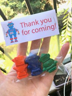 Robot Crayon Favors // goodie bags // party favors // birthday crayons // bag toppers // Thank you for coming favors! // homegrowncrayons by HomeGrownCrayons on Etsy Robot Clipart, Thank You For Coming, Bag Toppers, Birthday Party Favors, Goodie Bags, Crayons, Card Stock, Clip Art, Shapes