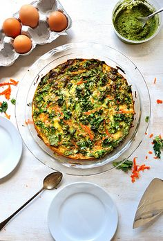 Crustless kale & carrot quiche