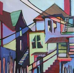 Daily Painting Vintage Homes abstracted cityscape, painting by artist Carolee Clark