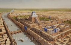 Babylon, Tower of Babel and Temple of Marduk, central area, 6th century BC. Illustration based on updated excavation plans published by the German Archaeological Institute