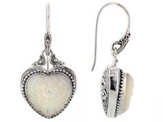 Artisan Gem Collection Of Bali(Tm) Heart Shape Carved White Mother Of Pearl Silver Dangle Earrings