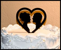 Wedding Cake Topper Silhouettes in Heart by CakeTopperConnection, $13.95