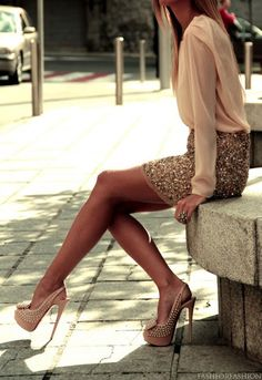 I love the chiffon shirt and sequin skirt pair up