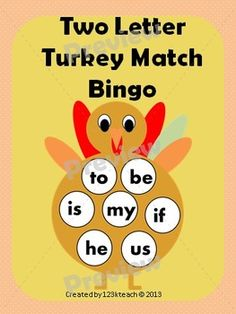 Students will have fun learning their two letter words as they match words on these adorable #turkeys. Up to six students can use this activity. You could also play a fun filled word bingo. Recording sheets are available. Happy #Thanksgiving