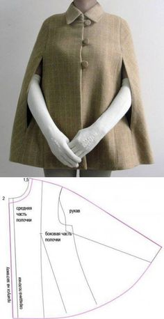 Cape Coat: Build Patterns for Sewing Cape coat: patronen bouwen voor shit … - Fashion for teens coat with unique sleeve Recently joined a cool motorcycle club and want to sew a patch on your leather jacket? Read on to find out how you can easily sew a p Sewing Dress, Dress Sewing Patterns, Sewing Clothes, Clothing Patterns, Fashion Patterns, Coat Pattern Sewing, Fashion Sewing, Diy Fashion, Ideias Fashion