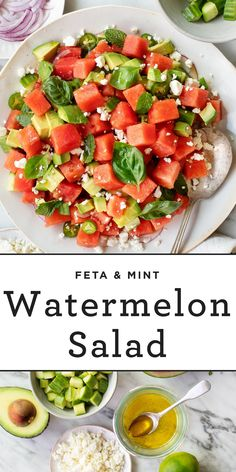 This watermelon salad with feta, mint, avocado, and lime is the BEST summer side dish. Super refreshing & easy to make, it's sure to be on repeat in your kitchen all summer long. Watermelon Salad Recipes, Side Salad Recipes, Avocado Recipes, Fruit Salad, Jackfruit Sandwich, Vegetarian Recipes, Healthy Recipes, Fruit Recipes, Healthy Salads