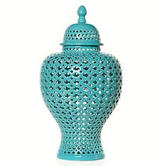 #ZGallerie. Love this urn. I wanted to keep with the pop of aqua color, but I loved how this looks Moroccan... maybe another place we can visit (or hope to visit) in my Adventure Room :)