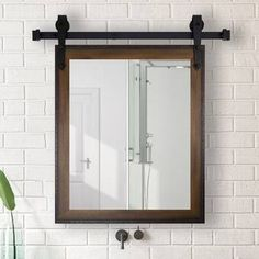 Gracie Oaks 2 Piece Bevier Mirror Set Size: 36 H x 30 W, Finish: Walnut 49821139615203873 Farmhouse Bathroom Mirrors, Modern Bathroom, Bathroom Ideas, Master Bathrooms, Bathroom Organization, Bathroom Storage, Industrial Bathroom Mirrors, Unique Bathroom Mirrors, Rustic Master Bathroom