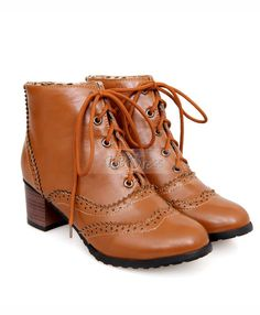 Delicate Brown PU Closed Toe Lace-up Low Heel Ankle Boots