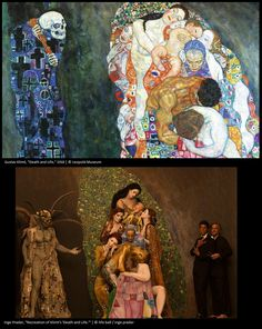 "Photographer Inge Prader recreates Klimt's ""Death and Life"" painting using live models and stunning costumes."