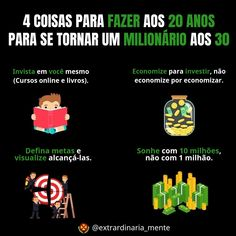 A imagem pode conter: texto Investing Money, Saving Money, Social Marketing, Digital Marketing, Ways To Get Rich, Portuguese Quotes, Bitcoin Cryptocurrency, Business Management, Self Development