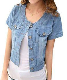 4ac4f780e5dc Cruiize Womens Short Sleeve Slim Washed Thin Cropped Shrug Denim Jacket  Demin Jacket