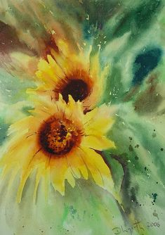 Sunflowers like the background technique watercolor painting