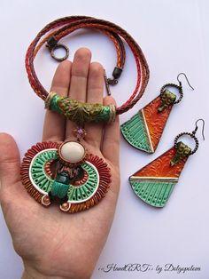 Escarabajo joyas - set de arcilla de polímero - polímero arcilla collar - colgante - Egipto - joyería de verano - regalo para su collar de boho - joyas boho-