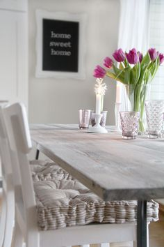 Beautiful grey shade dining room - and a super duper pretty DIY chalkboard too. Photo: Nina Holst of Stylizmo Blog.