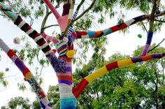 yarn bombing or guerilla knitting..new street art; this is Viva La Gong knit tree by grrl+dog from http://the5kinny.wordpress.com