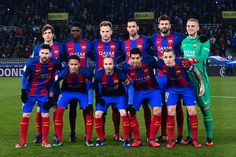 FC Barcelona players pose for a team picture during the Copa del Rey quarter-final first leg match between Real Sociedad and FC Barcelona at Anoeta stadium on January 19, 2017 in San Sebastian, Spain.