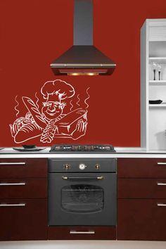 WALL VINYL STICKER DECAL ART MURAL COOK BREAD PASTRY CAFE KITCHEN DESIGN T491 #MuralArtDecals