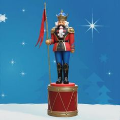 Nutcracker on Drum stands 8 ft. Stands 8 ft on drum (Nutcracker 6 ft.H).  This giant dimensional sculpture is rich with detail and character. Glitter, jewels, and gold leaf detailing are hallmarks of the collection. Crafted in durable chip resistant fiberglass, this Nutcracker and Display Drum are made to resist the elements. Weight 90 lbs. $1,119.00 http://www.christmasnightinc.com/c131/c204/Nutcracker-on-Drum-stands-8-ft-p951.html#