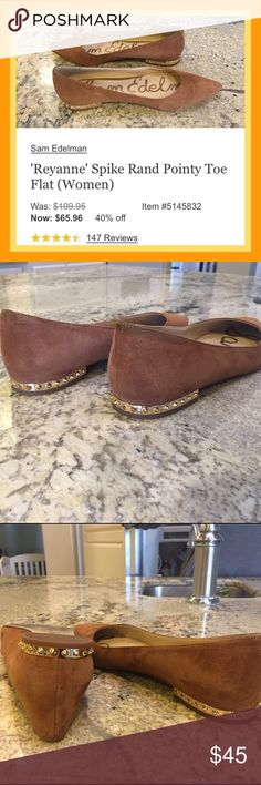 Sam Edelman Suede Flat With Gold Heel Spikes EUC Fashionable Sam Edelman Fall Suede Carmel Color Flats With Gold Spike Detail On Heel! Worn once so wear is from walking on sidewalks. EUC Sam Edelman Shoes Flats & Loafers