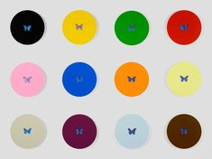 Damien Hirst  Zodiac  2008  Butterflies and household gloss on canvas  Twelve parts, each diameter: 610 mm | 24